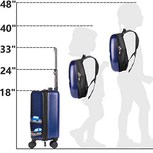 iPlay, iLearn Kids Rolling Luggage Set, 18'' Hard Shell Carry on Suitcase with Backpack, Gift for Boys Girls Toddlers Children Travel