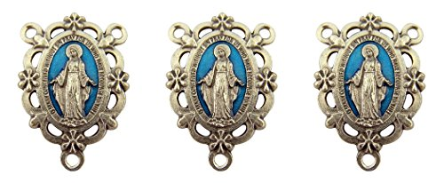 Blue Enamel Our Lady Miraculous Medal Floral Rosary Centerpiece, Set of 3, 1 Inch
