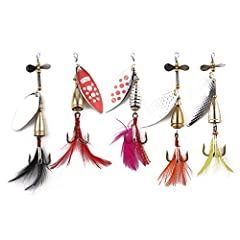 Features: Brand new and high quality Smooth and rapid diving action.  It is like the real fish with the feather when swimming. The sequin can make noise to attract fish to bite. Each comes with a hook. Material: Metal Weight: As Shown Length:...