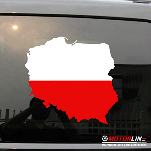 3S MOTORLINE Map Flag of Poland Decal Sticker Car Vinyl Polska Polish pick size no bkgrd (6
