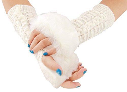 ZUOYETY Damen Frauen Elegant Winter Warme Kunstpelz Gestrickt Lange Ärmel Fingerlose Handschuhe Handwärmer Armlinge Bestes Geschenk - Weiß