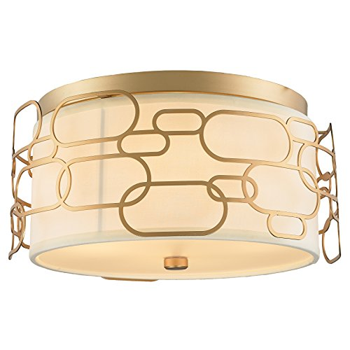 Worldwide Lighting FS441MG16 Montauk Collection 4 Light Matte Gold Finish with Ivory Linen Shade D16