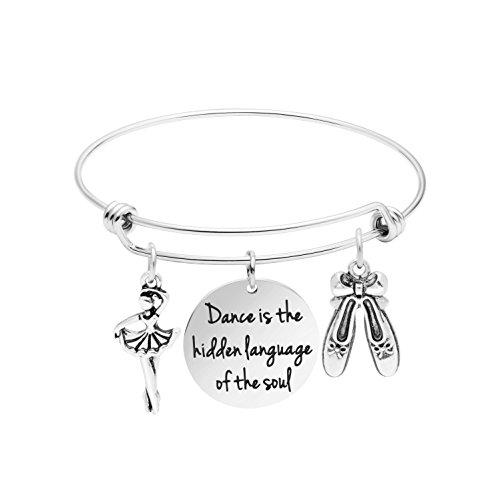 Awegift Dancer Gifts for Teen Girls Personalized Dance Bracelets Dance Gifts for Her Expandable Bangle Dance is The Hidden Language of The -