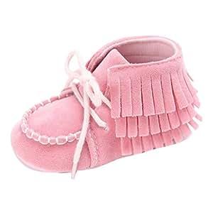 Cssd recién nacido bebé niña borla suave suela antideslizante cuna Prewalker zapatos