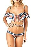 Women's Ruffle Bandeau Bikini Sets Cute Bathing suits Retro Swimsuit S