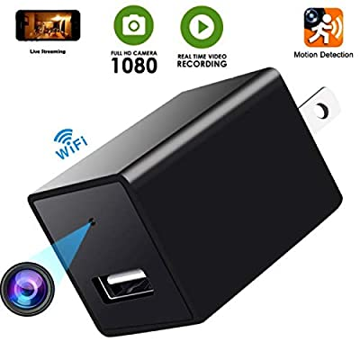 Spy Camera -USB Hidden Cam-Wifi Nanny Camera-HD 1080P Snap SmartCam-Mini Plug in Security Camera-Wall Charger Camera- Motion Detection-Remote Viewing -Upgraded Version 2018 by ALL ABOUT SECURITY