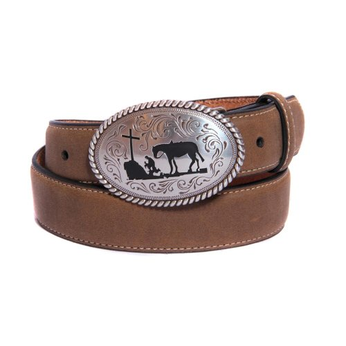 Nocona Boy's Cowboy Prayer Buckle Belt, Medium Brown Distressed, 24
