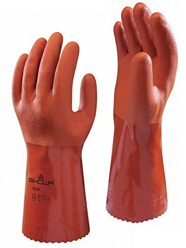 (SHOWA Atlas 620 Fully Coated Double-Dipped PVC Glove, Seamless Knitted Liner, Chemical Resistant, 12