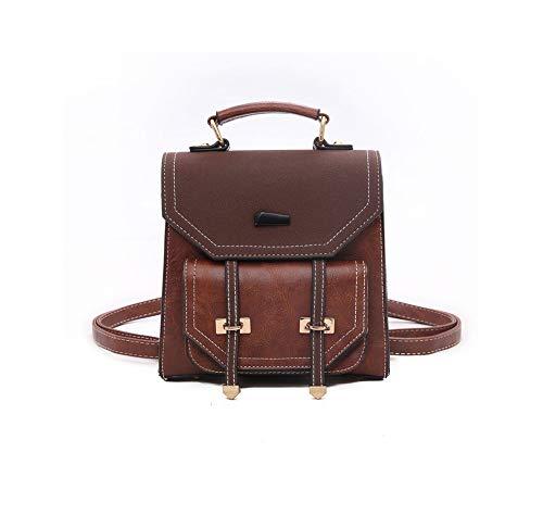 - MUSTY Y Backpack Women 2019 PU Leather Female Backpack Patchwork Bookbag School Bag for Girl Rucksack,Darkbrown,20cm 9cm 19cm