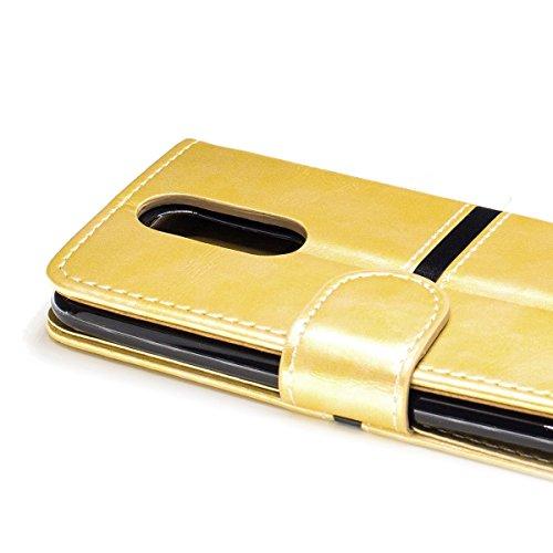 Funda LG K8 2017 (American Version) Billetera Carcasa, Forhouse Lustroso Ligero Flip Prima PU Cuero Wallet Caso con [Kickstand][Ranuras para Tarjetas y Caja][Cierre Magnético] Delgado Fit Book Style A Dorado