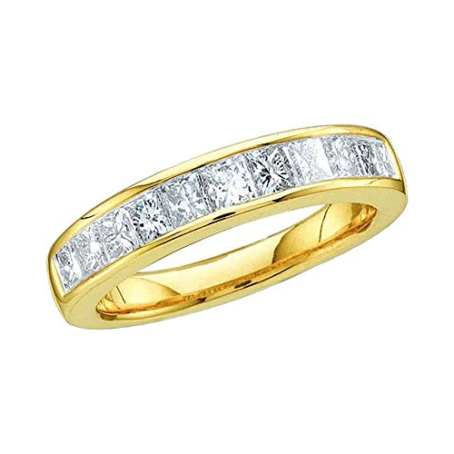 14kt Yellow Gold Womens Princess Channel-set Diamond Single Row Wedding Band 1/2 Cttw - Size 9 14kt Gold Channel Set Band