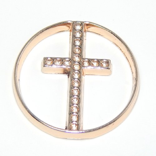 "Price comparison product image Jewelry Monster Gold Rose ""Cross"" Plate for Floating Charm Lockets WP0002-2A"