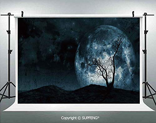 Photo Backdrop Night Moon Sky with Tree Silhouette Gothic Halloween Colors Scary Artsy Background 3D Backdrops for Interior Decoration Photo Studio Props]()