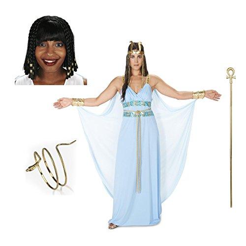 [Egyptian Goddess Adult Costume X-Large Staff Wig Jewelery Bundle Set] (Xl Pharaoh Adult Costumes)