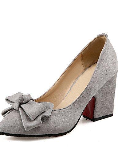 GGX/Damen Schuhe Fleece Summer/spitz Toe Heels Büro & Karriere/Casual Chunky Ferse bowknotblack/blau/gelb/ red-us9 / eu40 / uk7 / cn41