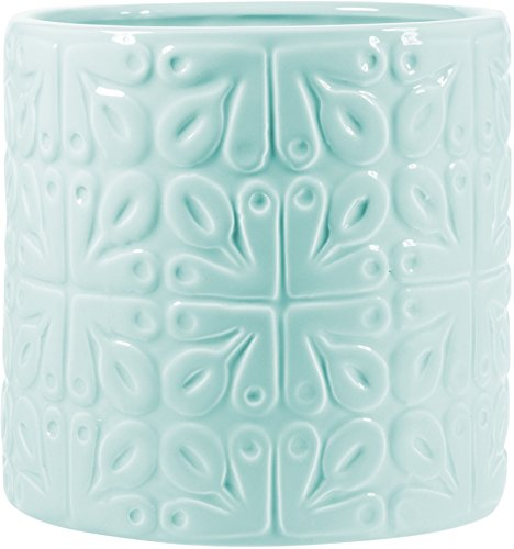 Nautical Pastel Ceramic Utensil Container- Utensil Crock with Coastal Accents