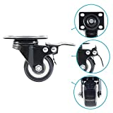 Houseables Caster Wheels, 4 Locking Castors, Black, Heavy Duty, Metal Swivel Brake Casters, Locking, Rubber Wheel, Castor Set, for Furniture, Dolly, Carts