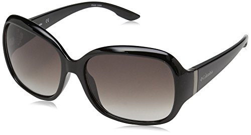 Columbia Women's Horizons Pine Oval Sunglasses, Shiny Black, 57 - Lens Black Columbia