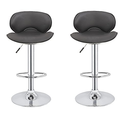 2 x Homegear M0 Cherner Adjustable Swivel Faux Leather Bar Stools 41pary58DEL