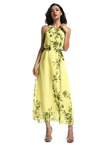 Aeslech Women's Sleeveless Halter Neck Chiffon Floral Printed Maxi Dress Yellow Tag 2XL
