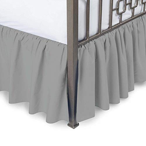 US Comfort Zone 750 Thread Count Dust Ruffle Bed Skirt Cal King Size 18'' Drop Fall Length Silver Gray Solid 100% Egyptian Cotton Quality Wrinkle & Fade Resistant 18' Cal King Bed Ruffle