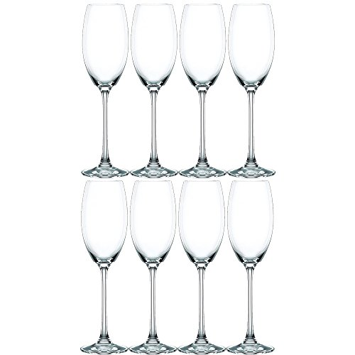 Nachtmann Vivendi Set of 8 Champagne Glasses, 9-Ounce (Champagne Platinum Glass)