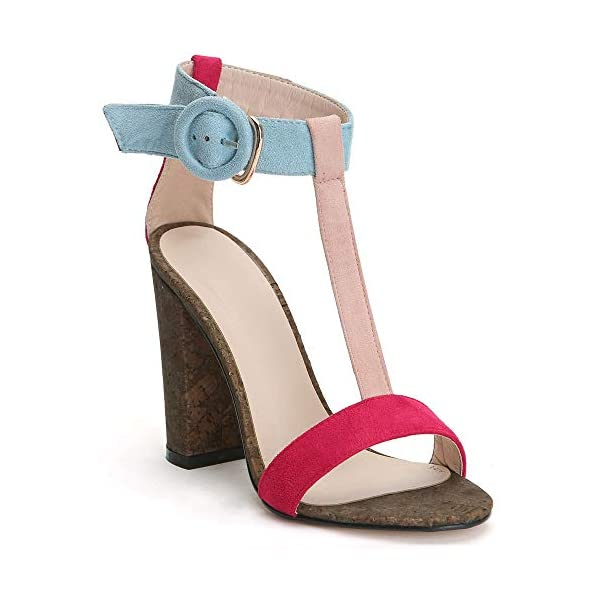 25027b2018822 Women s Summer T-Shaped Wood-Tone Buckle Block Suede Open Toe Heel ...