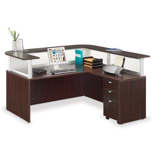 Officient Neoterik L-shaped Reception Desk with Mobile Pedestal, Mocha Laminate/Frosted (Reception L-shaped Office Desk)