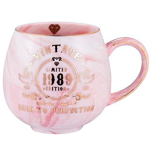 30th Birthday Gifts for Women Men | Vintage 1989 Aged To Perfection Ceramic Marble Mug | 30th Anniversary Gifts for Husband Wife Mom Dad | Pink Ceramic Marble Mug 15 oz -