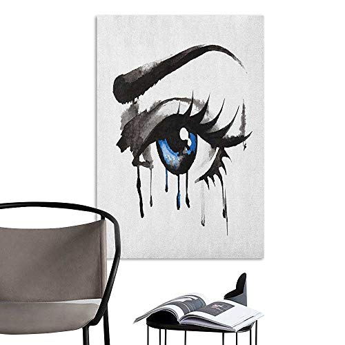 Camerofn Art Decor 3D Wall Mural Wallpaper Stickers Eye Dramatic Artwork of a Woman Eye with Dripping Paint Curvy Eyebrow and Long Lashes Black Grey Blue Living Room Wallpaper W24 x H36