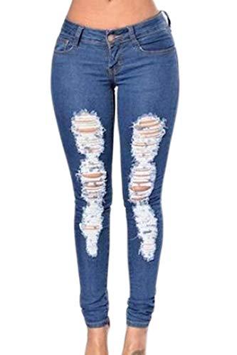 Modern Grazioso Vita Blu Scuro Eleganti Jeans Waist Jeggings Donna Monocromo Tasche High Strappati Giovane Lunga Estivi Outdoor Damigella Stile Pantaloni Moda Pants Alta Con Primaverile Trousers wHqnpxqBC
