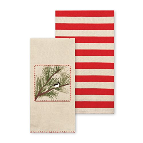 C.R. Gibson Set of 2 Holiday Tea Towels, By Kate Nelligan, Printed Christmas Kitchen Towel With Blanket Stitching, Measures 16