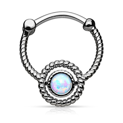 Pierced Owl Rope Circle with Single Opal Septum Clicker Ring in 316L Surgical Steel (Hematite)