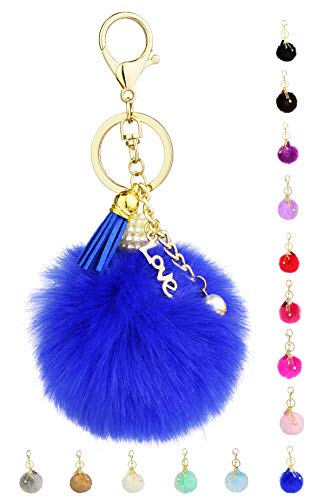 Key Chain Accessories for Women - Blue Faux Fur Ball Charm and Artificial Pearl with Key Ring