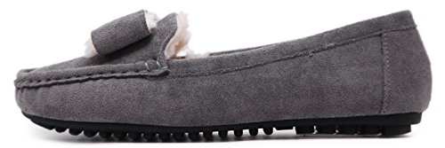 Dolphinbanana Dolphingirl Womens Flat Shoes Autunno Inverno Grigio 063