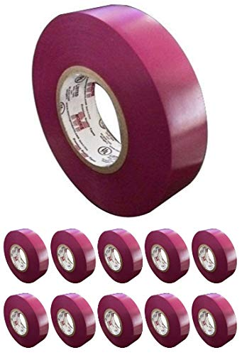 Morris Products 10 Pack Purple Electrical Tape, Large Rolls, Each 3/4-Inch Wide and Full 60 Feet Long, 7 mil, Use for Protective Jacketing and Bundling, Great for Color Coding [Pack of 10] ()