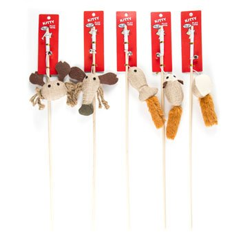 CAT TOY WOODEN WAND WITH BELL 5 STYLES, Case Pack of 70