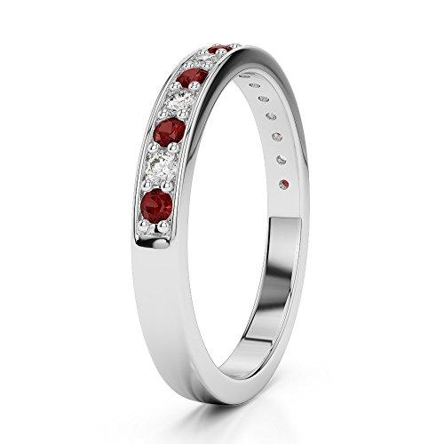 Or blanc 18carats 0,16CT G-H/VS Certifié Coupe ronde Grenat et diamants Agdr-1083
