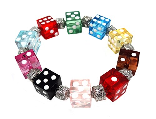 Linpeng Multi Colors Dice Beads Stretch Bracelet, Mix