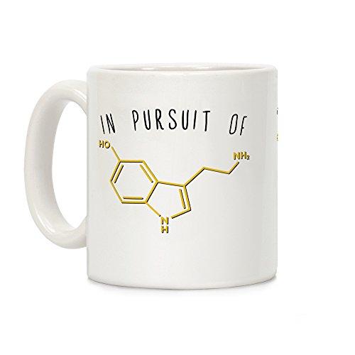 LookHUMAN In Pursuit of Happiness (Serotonin Molecule) White 11 Ounce Ceramic Coffee Mug