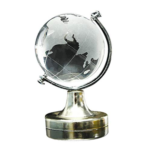 Tcplyn  Premium Quality Clear World Map Earth Round Globe Crystal Glass Paperweight Decoration for Gift