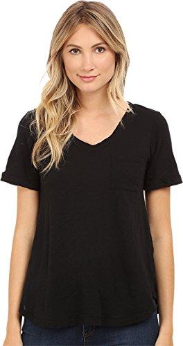 Allen Allen Women's Short Sleeve Vee w/Pocket Black T-Shirt SM (Women's (Allen Allen Short Sleeve T-shirt)