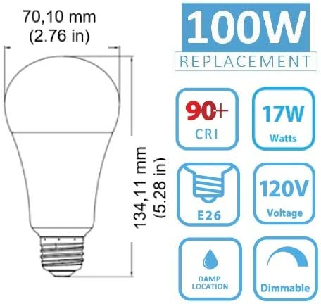 90+ Lighting LED A21 UL Listed 12 Pack T20 T24 Certified 2700K Dimmable 1600lm E26 100W Equivalent 17W