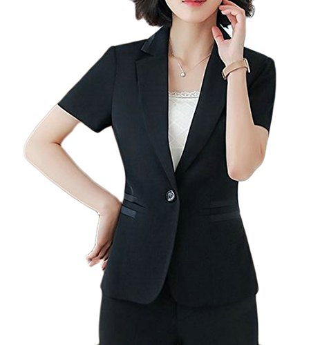 - Pandapang Women's Work Coat Suit Thin One Button Short Sleeve Summer OL Blazer Jackets Black L