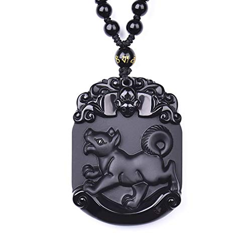 clin-kk Black Obsidian Pendant Necklace, Pendant Made of Obsidian Gemstone Horoscope Animal Sign Amulet Hand Carved Natural Genuine with Extend Bead Chain