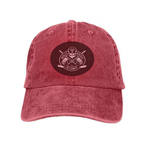 - Adult Adjustable Structured Baseball Cowboy Hat Hockey Logo Mascot Skull Helmet Circular Banner ed Sticks bl red