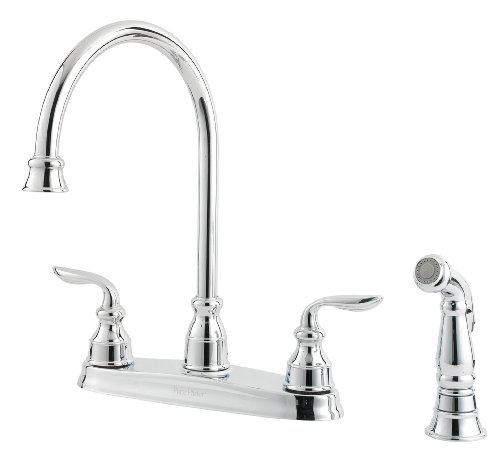 Pfister LF0364CBC Avalon 2-Handle Kitchen Faucet with Side Spray, Polished Chrome, 1.8 gpm (Kitchen Faucet Avalon)