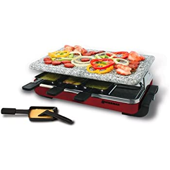swissmar kf 77045 classic 8 person raclette with granite stone grill top red. Black Bedroom Furniture Sets. Home Design Ideas