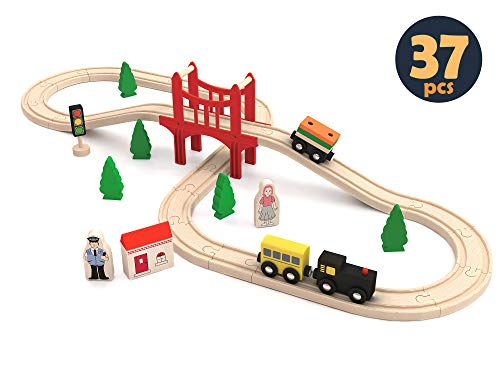 Wooden Train Set for Toddler, Toy Tracks, Engine, Passenger Car (37-Piece Play Kit) Kids Friendly Building & Construction | Expandable, Changeable | Fun for Girls & Boys