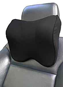A&A Creations Car Neck Pillow Adjustable Strap Therapeutic Support, Car Seat Attachment, Memory Foam Head Rest Cervical Pain Relief - Odorless Soft Travel Cushion to Alleviate Muscle Tension, Black